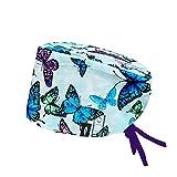 ROBIN HAT - Cuffie da sala Operatoria AQUA BUTTERFLY CAPELLI LUNGHI con sistema di bloccaggio della mascherina alla cuffia - 100% cotone (Autoclave) - Massima comodità