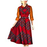 Abetteric Women Long Premium Button-Front Baggy Folk Style Cocktail Dress AS15 3XL