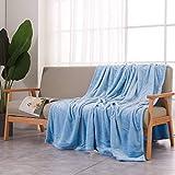 VANSILK - Manta de forro polar de franela suave suave para cama y sofá, color azul, 150 x 200 cm