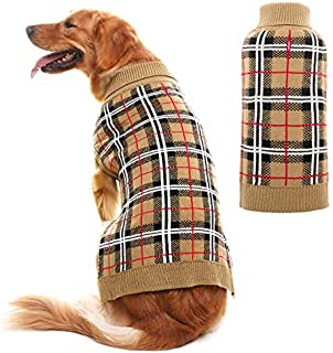 JIATECOO Classic Plaid Dog Sweater - Puppy Festive Winter Warm Cute Clothes