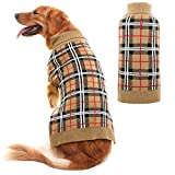 JIATECOO Classic Plaid Dog Sweater - Puppy Festive Winter Warm Cute Clothes