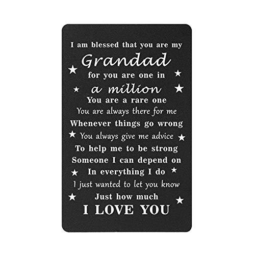 Gifts for Grandad from Grandson Granddaughter, Engraved Wallet Card Insert,...