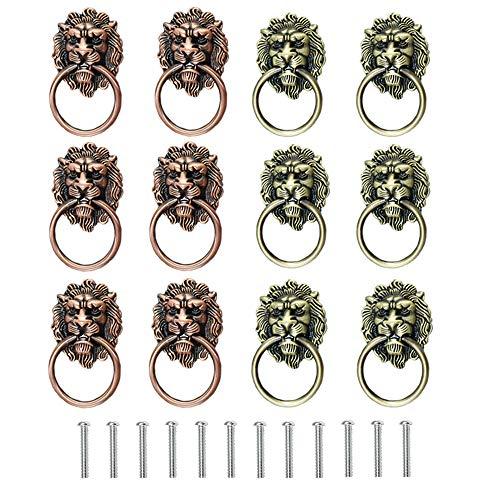 Zasiene Tiradores para Muebles 12 Piezas Cabeza deLeon Aldaba Tiradores para Cajones Vintage Tirador Puerta Pomos Depuerta de Armario,con Tornillos
