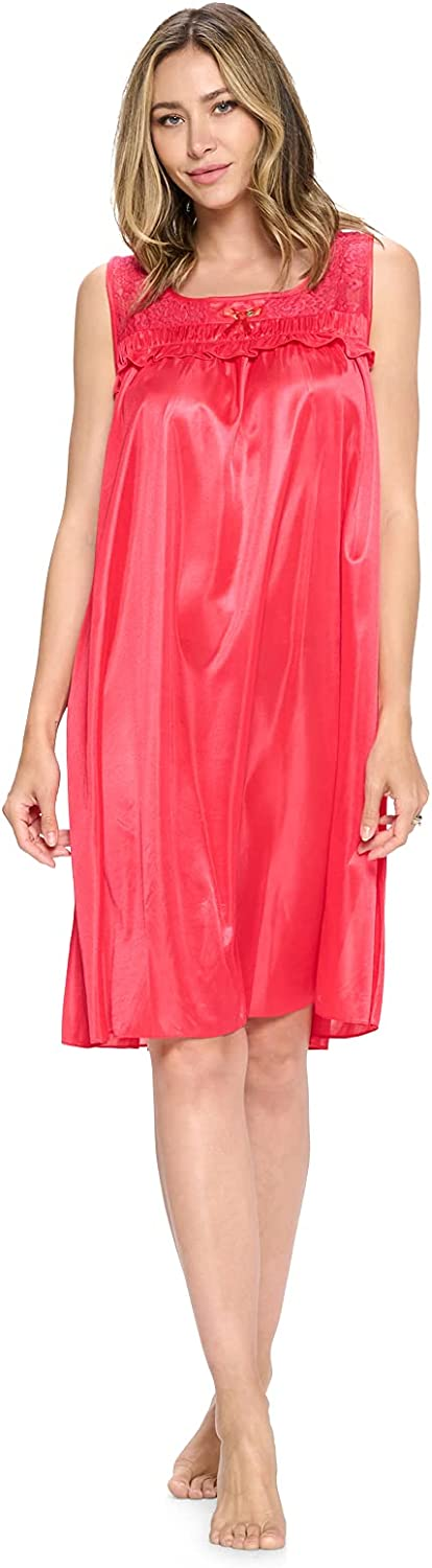 Casual Nights Women's Sleeveless Tricot Sheer Lace Nightgown
