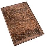 Logbuch-Verlag Vintage Notizbuch Blankobuch in braun Weltkarte Globus Erdkugel Nostalgie Look A4 - leeres Buch zum Selbstgestalten mit Metall Schutzecken