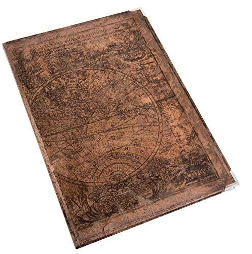 Logbuch-Verlag Vintage Notizbuch Blankobuch in braun Weltkarte Globus Erdkugel Nostalgie Look A4 -...