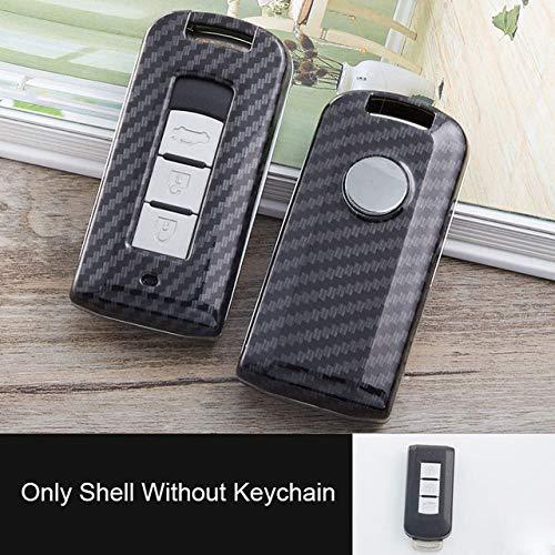 SJIUH Schlüsselhülle,Carbon-Schlüsselanhänger für Autoschlüsselanhänger für Mitsubishi Outlander Lancer EX ASX Hengstfohlen Grandis Pajero Sport Fernschlüsselschutz, A Model Only Shell