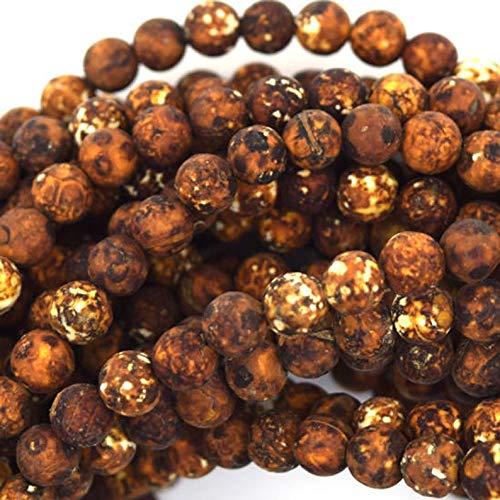 15 inch strand natural tibetan dzi agate 6 mm round smooth beads for jewelry - 6mm matte brown tibetan dzi agate round beads 15' strand
