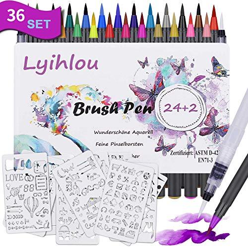Watercolor Brush Pen Set, Wasserfarben Pinselstifte 24+2, Aquarell Pinsel Marker Stifte 100% ungiftig Geruchlos für Erwachsene Malbücher, Manga, Comic, Kalligraphie (24+2+10 Farben)