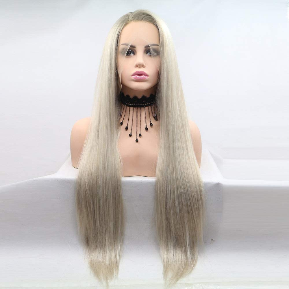 ANBF Wigs Fashion Wig Max 57% OFF European Hair and Long Tampa Mall Straight Gold