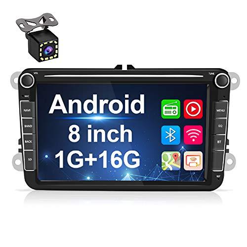 Android Autoradio für VW GPS Navigation, 20,3 cm (8 Zoll) kapazitiver Touchscreen, Bluetooth-Stereo-Player, WiFi, FM-Radio-Empfänger, Dual USB für Golf Touran Jetta Polo Seat Sharan