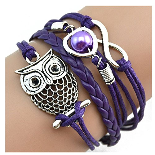DOINSHOP Bracelet, Infinity Chain Cuff Jewelry Antique PU Leather Bracelet Charm (Owl [Purple])