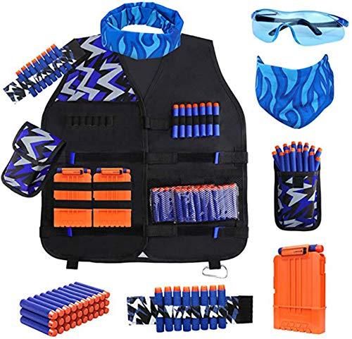 Kit De Chaleco Táctico para Niños para Nerf Guns N-Strike Elite Series, con Dardos De Recarga, Puntilla Táctica De Muñeca Y Gafas De Protección para Niños