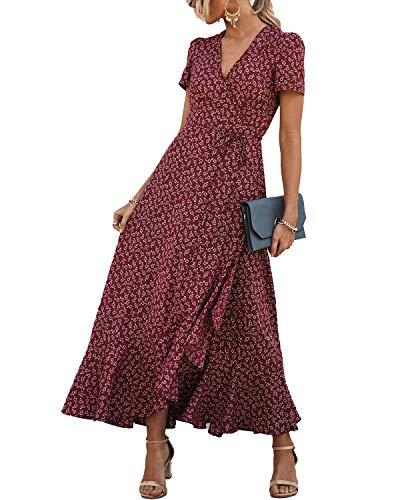PRETTYGARDEN Women's Wrap Maxi Dress Boho Floral V Neck Short Sleeve Ruffle Hem Split Beach Long Dresses (Red, Large)