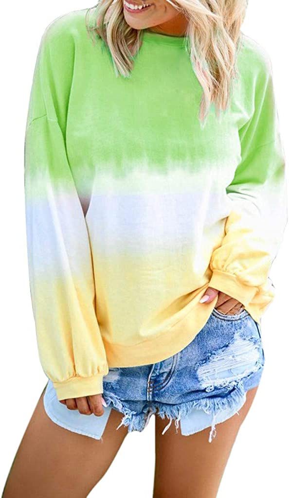 Long Sleeve Tops for Women,Womens Plus Size Long Sleeve Pullover Autumn Thermal Crewneck Tie Dye Colorful Sweatshirts
