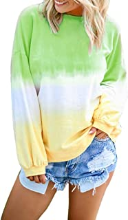 Hunauoo Blouse for Women Casual Gradient Contrast Color Long Sleeve Top Pullover Sweatshirt