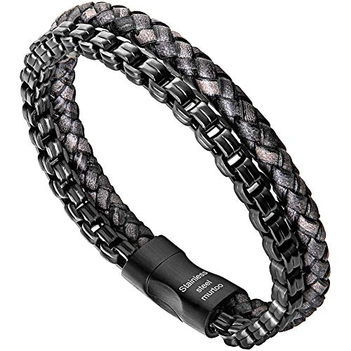 murtoo Mens Bracelet leather and Steel, Stainless Steel Chain and Leather Bracelets for Men Perfect Gift (Black)
