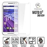 Concept ®/TM-Cristal protector de pantalla para Motorola Moto HQ G3 Vidrio templado Ultra resistentes a arañazos rupturas & ()-Ultra Slim (0,26 mm) con bordes redondeados, protección y un uso óptimo.