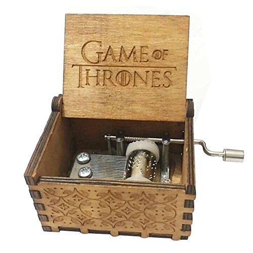 FORUSKY Caja de música de madera tallada con forma de juego de tronos, para decoración del hogar, manualidades, juguetes, regalo