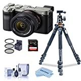 Sony Alpha 7C Mirrorless Camera with FE 28-60mm f/4-5.6 Lens, Silver Bundle with Vanguard Alta Pro 264AT Tripod and TBH-100 Head, 64GB SD Card, Filter Kit, Cleaning Kit, Cloth