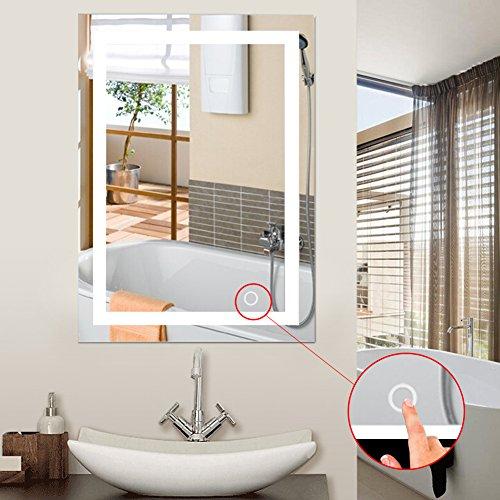 Espejo de baño con iluminación, Espejo de baño con iluminación, Espejo de baño LED Touch (Blanco Frio,A, 60x80cm)