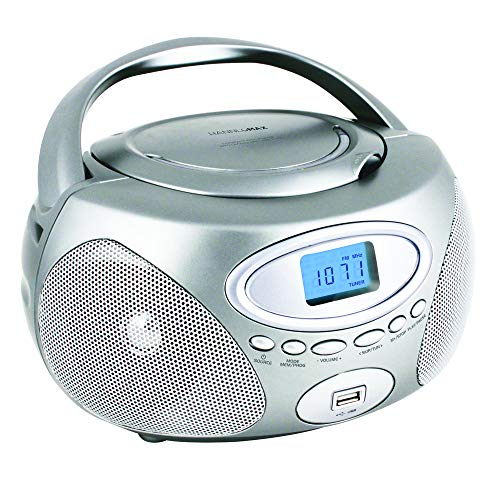 HANNLOMAX HX-311CD Portable CD/MP3 Boombox, PLL AM/FM Radio, USB Port for MP3 Playback, Aux-in, LCD Display, AC/DC Power Source (Silver)