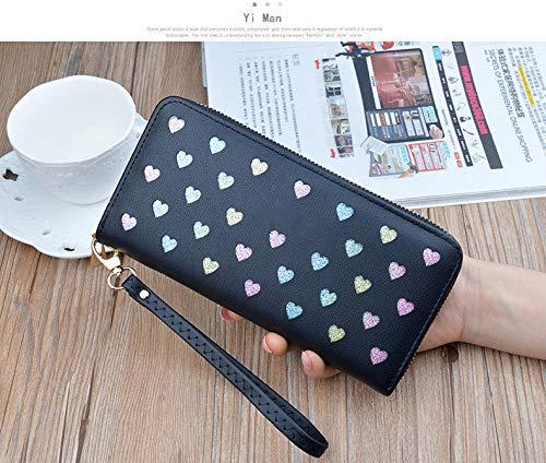 YD Nieuwe Portemonnee Dames Lange Rits Grote Capaciteit Mobiele Telefoontas Wild Liefde Kleur Holle Koppelingstas
