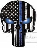 25cm! Aufkleber-Folie Wetterfest Made IN Germany Punisher Blue LINE Police USA Skull Totenkopf Fahne B91 UV&Waschanlagenfest Auto-Vinyl-Sticker Decal ProfiQualität
