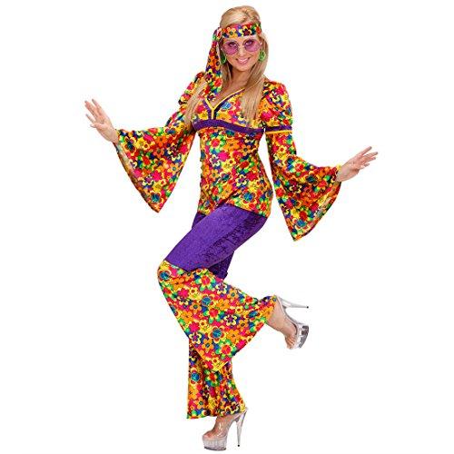NET TOYS Déguisement Hippie Femme déguisement de Hippie déguisements de Hippie déguisement pour Femme Flower Power années 70 Carnaval XL 46/48