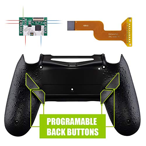 eXtremeRate Dawn Programmierbares Remap Kit für PS4 Controller mit Rückseite Hülle Gehäuse Case&Mod-Chip&4 Rückseiten Tasten-für Playstation 4 JDM 040/050/055(Schwarz)