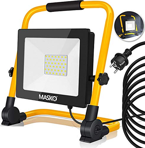 MASKO® LED Baustrahler 30W - Arbeitsleuchte - Arbeitsscheinwerfer 5m Netzkabel 6400K IP65 - Bauscheinwerfer inkl. Standgestell und Tragegriff Baulampe Flutlicht Strahler Baustellenlampe innen außen