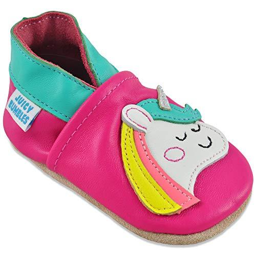 Juicy Bumbles Chausson Enfant - Chaussure Bebe Fille - Chaussons Bébé Cuir Souple - Licorne - 2-3 Ans