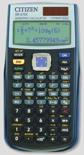Citizen SR-270X College - Calculadora (bolsillo, Battery/Solar, CR2032, 84 mm, 165 mm, 20 mm) - Color Negro
