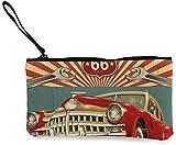 Rotes Auto Frauen Leinwand Geldbörse Mini Geldbörse Beutel Kartenhalter Telefon Brieftasche Aufbewahrungstasche, Federmäppchen Casual Daypacks
