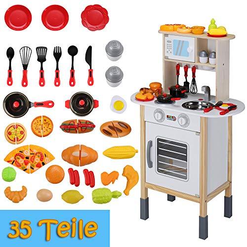 Spielzeugküche Spielküche Kinderküche Happy Kitchen 35 Teile Zubehör Holzküche Lichteffekt Kinder Spielzeug Lernspiel - 6