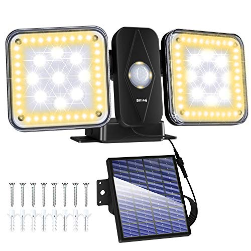 Solar Security Light Outdoor LED Motion Sensor Lights, Motion Detector Lights Solar Powered Flood Light, 2 Head IP65 Waterproof Adjustable Wall Lights for Garage, Porch, Pathway - Warm White+White