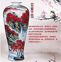 花瓶セラミック85CMセラミック踊り場の装飾家の装飾中国の赤い手描きのパステル風景大きな磁器
