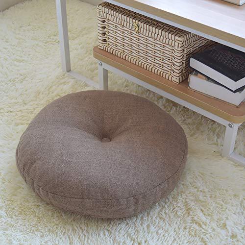 WANGS Tissu Lin Rond Style Japonais Tatami Coussin de siège, épaissie Coton Perle Coussin de Chaise Utilisé sur Chaise Swing Siège Doux Futon-D d:60*h:15cm