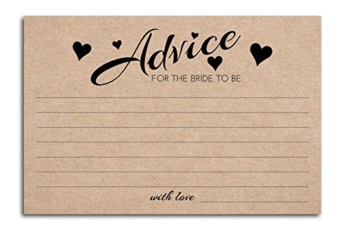 Home Advantage - 4x6 Advice and Wishes for The Bride to Be, Set of 50 (Kraft)