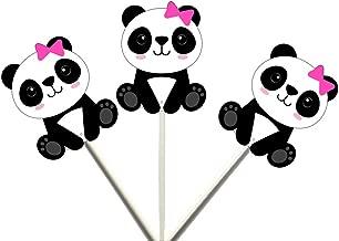 Crafty Cue 12 Count Panda Girl Sitting Cupcake Toppers, Panda Bear Cupcake Toppers, Panda Bear Cake Toppers, Panda Bear Decorations, Panda Bear Baby Shower Decorations