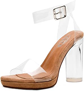 High Heels Women's Sandals Prom Party Shoes Transparent High Heels Crystal Princess Shoes Leather Upholstery, Heel Height 11cm (Color : Clear, Size : 37)