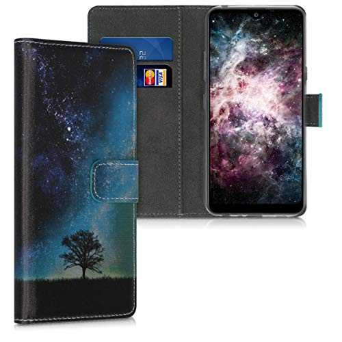 kwmobile Wallet Hülle kompatibel mit LG K50 - Hülle Kunstleder mit Kartenfächern Stand Galaxie Baum Wiese Blau Grau Schwarz