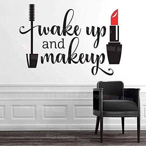 Wall Stickers,Awakening and makeup vinyl wall stickers girls bathroom mirror vanity decals waterproof lipstick mascara decals beauty salon 43x30cm