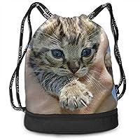 ジムサック ナップサック スポーツバッグ 手持ちの子猫 手提げポーチ 巾着袋 おしゃれバッグ アウトドア 旅行 登山 遠足用
