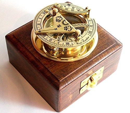 Latón reloj de sol brújula–latón macizo bolsillo reloj de sol–West London con caja de madera