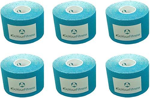 DoYourSports 6X Cinta Adhesiva Deportiva - Vendaje Premium para kinesiología - Bandaje Elástico 100% Algodón Resistente al Agua – Ktape en Colores Diferentes - 5 m x 5 cm - Azul Claro