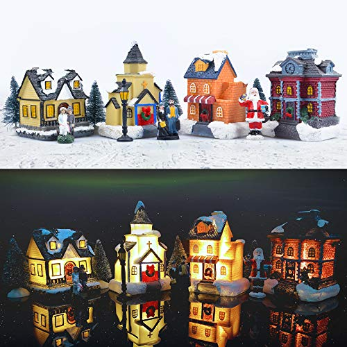 ZornRC Christmas Village Set - LED Christmas Village Houses with Figurines, Christmas Village Collection Indoor Room Decor - Collectible Buildings (12 PCS)