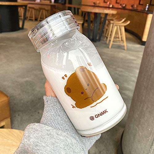 PPuujia Botella de agua de vidrio con diseño de oso de dibujos animados, gruesas, resistentes al calor, vasos de café con leche para mujeres y estudiantes (color: A)