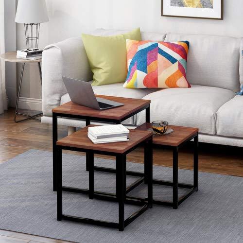 Tisch,Beistelltisch-Set,3 Stück Nachttische,Couchtisch Echtholz, Kaffetisch Metall Tischecke Wohnzimmertisch Viereckform Vintage Satztisch aus Massiv Holz Kaffetisch (braun-schwarz)