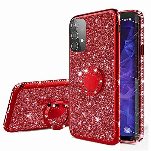 Nadoli Glitzer Hülle für Samsung Galaxy A52 5G,Kristall Diamant Strass Bumper mit 360 Ring Kickstand Silikon Schutzhülle Handyhülle Frauen Mädchen,Rot
